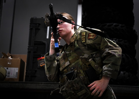 Airman Madalyn Duke, 66th Security Forces Squadron entry controller, wears the new female-specific body armor during a shoot, communicate, and move training at Hanscom Air Force Base, Mass., June 29. The newest development in Air Force body armor is designed to better protect female Airmen during combat and contingency operations. (U.S. Air Force photo by Lauren Russell)