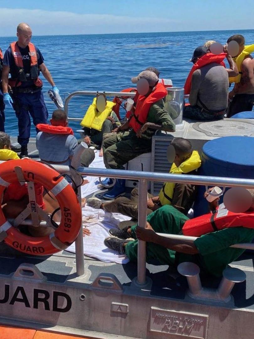 A Coast Guard Station Marathon boatcrew and 15 migrants aboard 45-foot Response Boat-Medium near Big Pine Key, Florida on July 3, 2021. Coast Guard Cutter Kathleen Moore's crew repatriated 15 Cubans to Cuba, July 10, 2021.