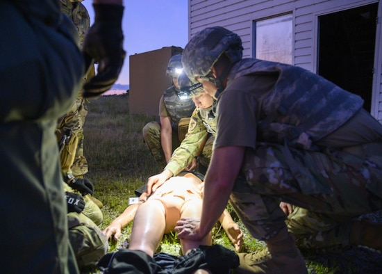 Airmen from the 188th Wing completed an intensive two-day course here, June 3 – 4, 2021.  The training involved airway management, tourniquet application, wound bandaging, and various stretcher-carrying techniques