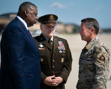 Defense Secretary Lloyd Austin and Army Gen. Mark A. Milley, chairman of the Joint Chiefs of Staff, meet Army Gen. Scott Miller at Joint Base Andrews, Md., upon his return home from Afghanistan after relinquishing command of U.S. and NATO Resolute Support Mission, July 14, 2021. Miller relinquished command July 12, 2021 as the U.S. reduces the military presence in Afghanistan. (DOD Photo by Navy Petty Officer 1st Class Carlos M. Vazquez II)