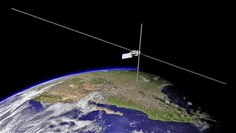 An artist's rendering of the Air Force Research Laboratory Demonstration and Science Experiments spacecraft on-orbit with its 80-meter and 16-meter antenna booms extended. (U.S. Air Force Illustration//W. Robert Johnston)