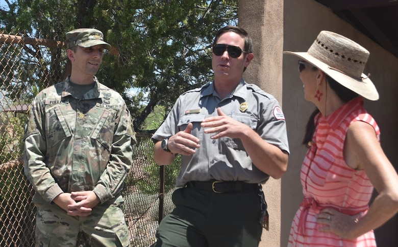 Congresswoman Teresa Leger Fernández discusses the drought conditions at Abiquiu Lake with Maj. Brett Fuller, deputy commander, Albuquerque District, and John Mueller, lake manager, Abiquiu Lake, during her visit to Abiquiu Lake and Dam, July 10, 2021.