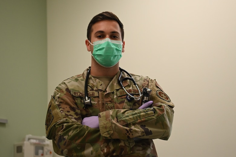 Staff Sgt. Jon Paul Fitzgerald, 336th Fighter Squadron independent duty medical technician, poses for a photo at Seymour Johnson Air Force Base, North Carolina, July 13, 2021. Fitzgerald also serves as a first aid, CPR, and AED instructor. (U.S. Air Force Photo by Airman 1st Class David Lynn)