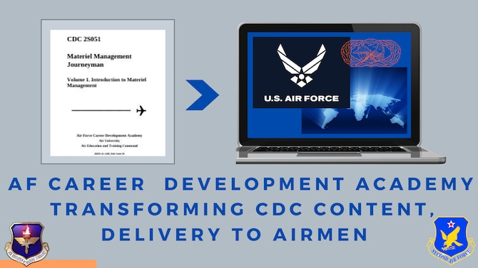 snapshot of legacy paper CDCs and then computer screen with world map and U.S. Air Force logo