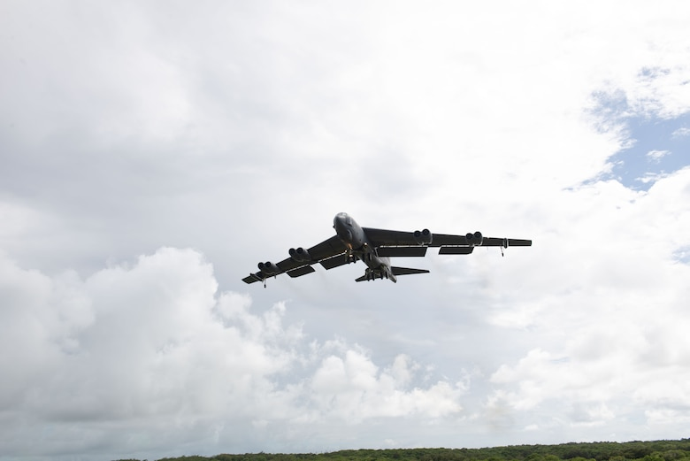 U.S. Air Force B-52H Stratofortress from the 5th Bomb Wing, Minot Air Force Base North Dakota, prepares to land at Andersen Air Force Base, Guam, for a Bomber Task Force deployment, July 15, 2021. Bomber Task Force missions demonstrate the strategic credibility and tactical flexibility of U.S. forces in today's security environment across the globe. (U.S. Air Force photo by SSgt Nicholas Crisp)