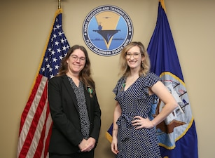 Carla McCarthy, left, deputy public affairs officer at Naval Education and Training Command's (NETC) Public Affairs Office in Pensacola, was selected as NETC's second quarter of Fiscal Year 2021 Senior Civilian of the Quarter (COQ), and Brooke Passione, information system security officer (ISSM) and Navy qualified validator for NETC cyber security was selected as the Junior COQ.