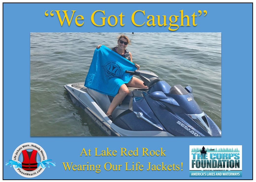 """This Jet Skier """"Got Caught"""" wearing her life jacket on Lake Red Rock.  Thanks for being safe!"""