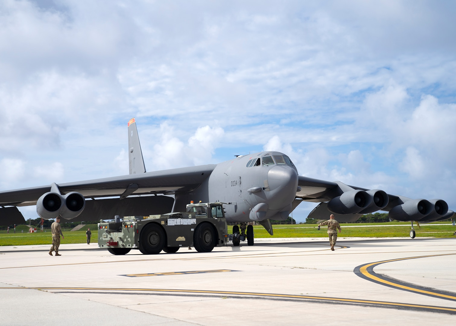 U.S. Air Force B-52H Stratofortress from the 5th Bomb Wing, Minot Air Force Base North Dakota, parks at Andersen Air Force Base, Guam, for a Bomber Task Force deployment, July 15, 2021. Bomber Task Force missions demonstrate the strategic credibility and tactical flexibility of U.S. forces in today's security environment across the globe. (U.S. Air Force photo by Staff Sgt. Kevin Iinuma)