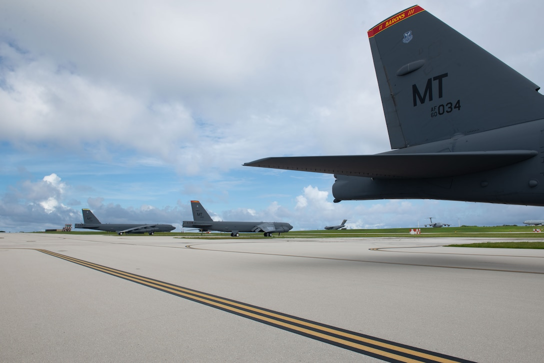 U.S. Air Force B-52H Stratofortress from the 5th Bomb Wing, Minot Air Force Base North Dakota, arrives at Andersen Air Force Base, Guam, for a Bomber Task Force deployment, July 15, 2021. Bomber Task Force missions demonstrate the strategic credibility and tactical flexibility of U.S. forces in today's security environment across the globe. (U.S. Air Force photo by SSgt Nicholas Crisp)