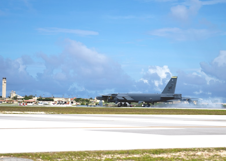 U.S. Air Force B-52H Stratofortress from the 5th Bomb Wing, Minot Air Force Base North Dakota, lands at Andersen Air Force Base, Guam, for a Bomber Task Force deployment, July 15, 2021. Bomber Task Force missions demonstrate the strategic credibility and tactical flexibility of U.S. forces in today's security environment across the globe. (U.S. Air Force photo by Staff Sgt. Kevin Iinuma)