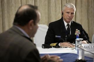 Guatemalan President Alejandro Giammattei meets with U.S. Navy Adm. Craig S. Faller.