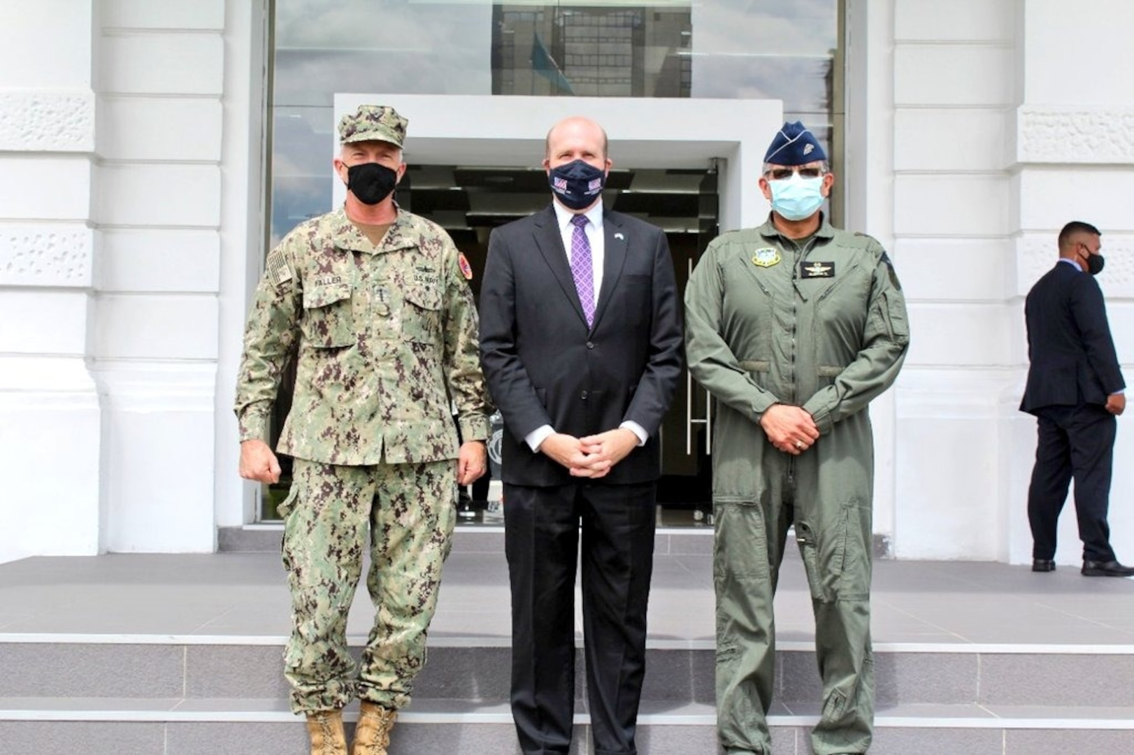 U.S. Navy Adm. Craig S. Faller, commander of U.S. Southern Command, meets with Guatemalan Minister of Defense Maj. Gen. Juan Carlos Alemán Soto.