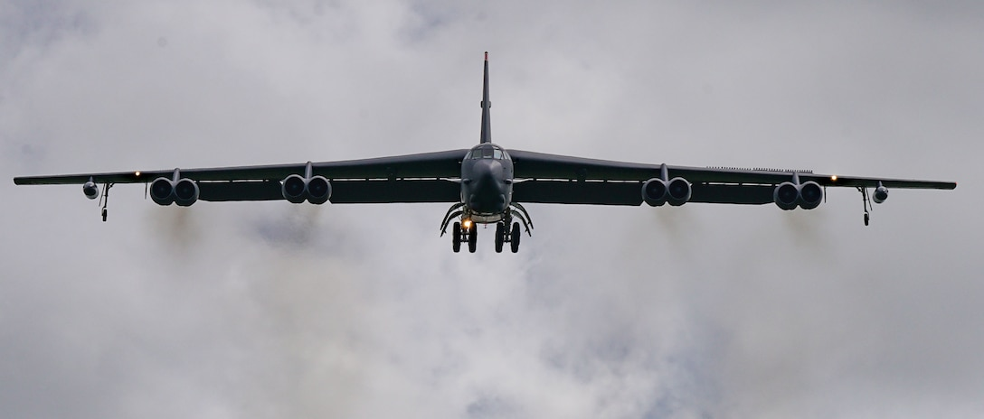 U.S. Air Force B-52H Stratofortress from the 5th Bomb Wing, Minot Air Force Base North Dakota, arrives at Andersen Air Force Base, Guam, for a Bomber Task Force deployment, July 15, 2021. Bomber Task Force missions demonstrate the strategic credibility and tactical flexibility of U.S. forces in today's security environment across the globe. (U.S. Air Force photo by Master Sgt. Richard P.  Ebensberger)
