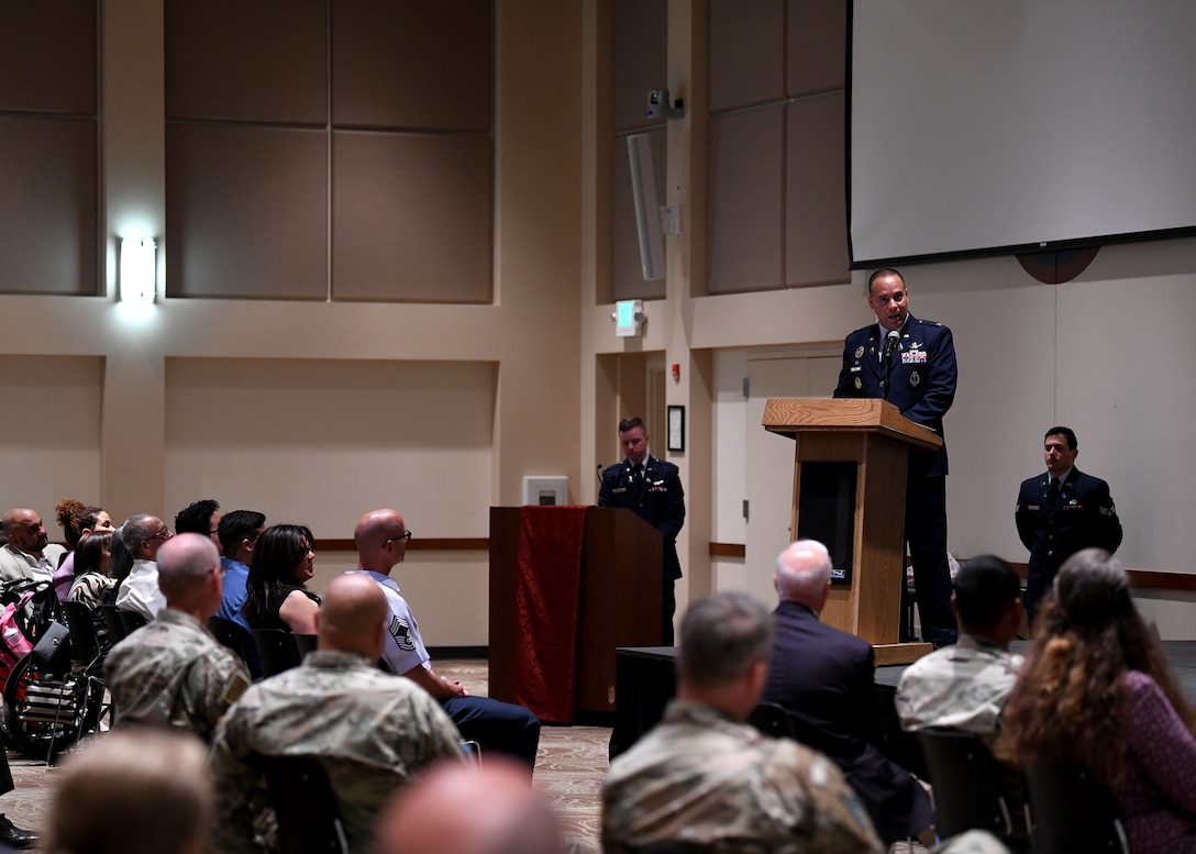 Col. Miguel Cruz, Space Delta 4 commander, addresses the audience at the DEL 4 change of command ceremony on Buckley Space Force Base, Colo., July 15, 2021. Cruz expressed his gratitude and excitement for the opportunity to lead DEL 4. (U.S. Space Force photo by Airman 1st Class Haley N. Blevins)