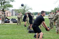 Army Reserve Soldiers assigned to the 85th U.S. Army Reserve Support Command, headquartered in Arlington Heights, Illinois, participate in the Standing Power Throw event of the Army Combat Fitness Test.