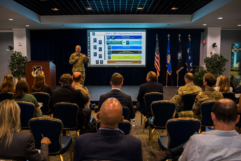 Lt. Gen. John F. Thompson, Space and Missile Systems Center commander and program executive officer for Space, speaks to the visiting U.K. delegation and other attendees of a Space and Missile Systems Center overview presentation focusing on future collaborative efforts in the space domain at Los Angeles Air Force Base, California, July 15, 2021. Earlier this month, U.S. Secretary of Defense Lloyd J. Austin also met with Wallace where the two signed a one-year extension of the U.S.-U.K. Statement of Intent Regarding Enhanced Cooperation on Carrier Operations and Maritime Power Projection, reaffirming the strong relationship between the two nations. (U.S. Space Force photo by Staff Sgt. Luke Kitterman)