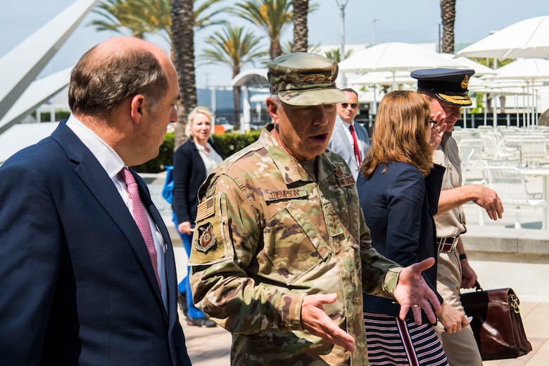 Lt. Gen. John F. Thompson, Space and Missile Systems Center commander and program executive officer for Space, right, speaks with United Kingdom's Secretary of State for Defence, the Right Honourable Ben Wallace MP, during a U.K. delegation visit focusing on future collaborative efforts in the space domain at Los Angeles Air Force Base, California, July 15, 2021. Earlier this month, U.S. Secretary of Defense Lloyd J. Austin also met with Wallace where the two signed a one-year extension of the U.S.-U.K. Statement of Intent Regarding Enhanced Cooperation on Carrier Operations and Maritime Power Projection, reaffirming the strong relationship between the two nations. (U.S. Space Force photo by Staff Sgt. Luke Kitterman)