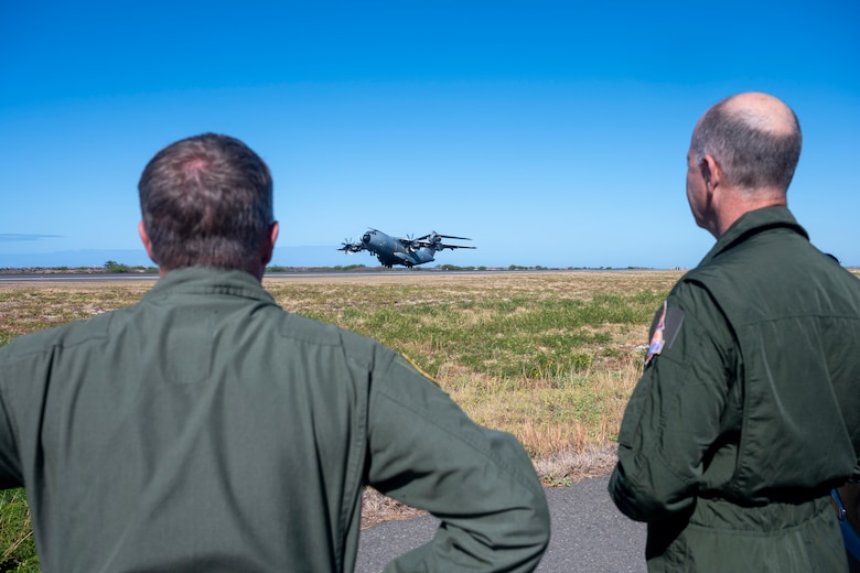 Brig. Gen. Dann S. Carlson, 154th Wing commander, Hawaii Air National Guard and Lt. Gen. Vincent Cousin, commander, Air Defence and Operations Command - French Air and Space Force, observe an A400M Atlas take-off at Honolulu International Airport, Hawaii, June 29, 2021.