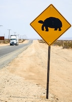 Desert Tortoise crossing signs like this one have been posted at locations on base reminding motorists to be on the lookout for these animals, which are so vulnerable once they venture onto a roadway. (Air Force photo by Gary Hatch)