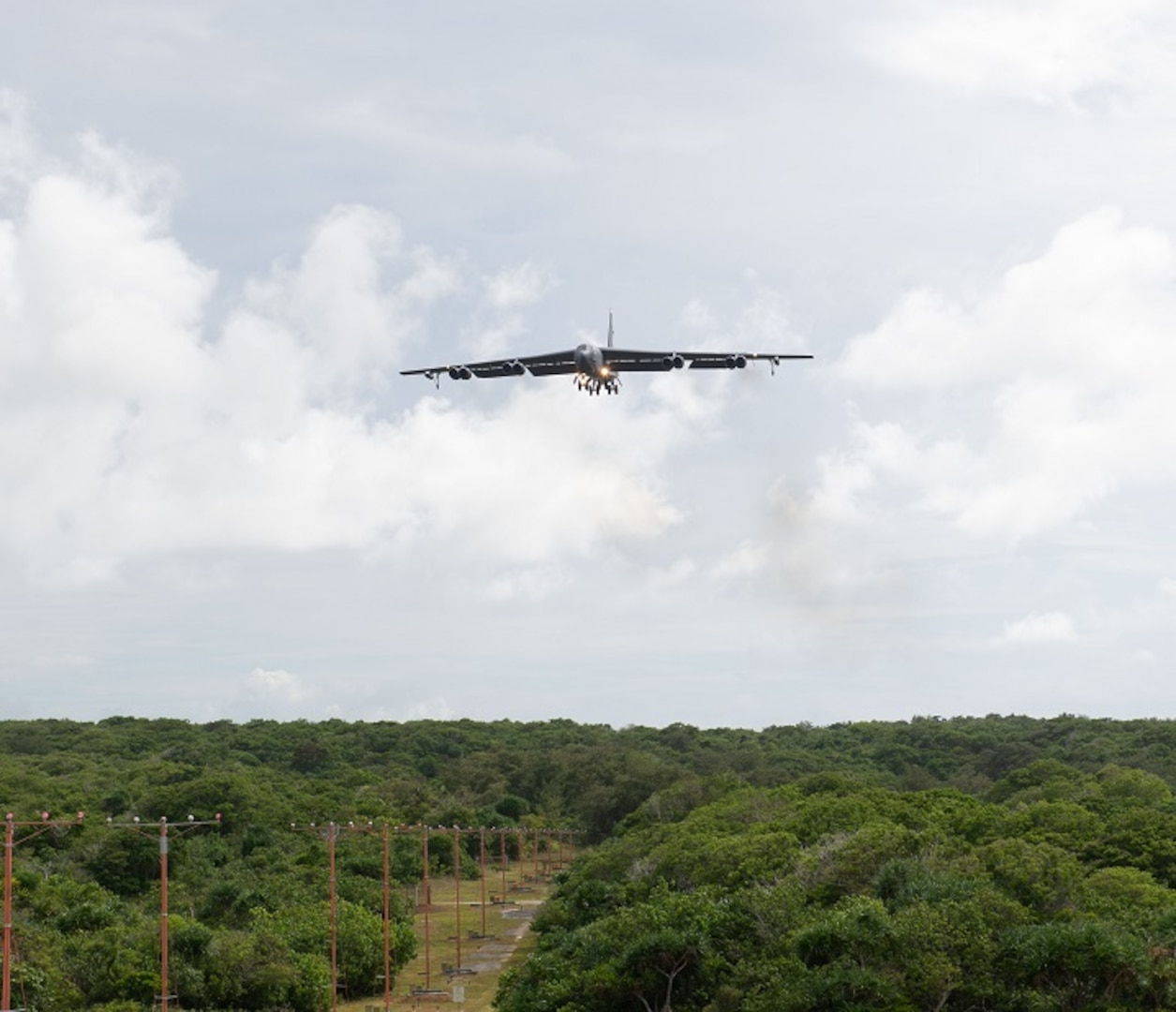 U.S. Air Force B-52H Stratofortress from the 5th Bomb Wing, Minot Air Force Base North Dakota, prepares to land at Andersen Air Force Base, Guam, for a Bomber Task Force deployment, July 15, 2021. Bomber Task Force missions demonstrate the strategic credibility and tactical flexibility of U.S. forces in today's security environment across the globe.