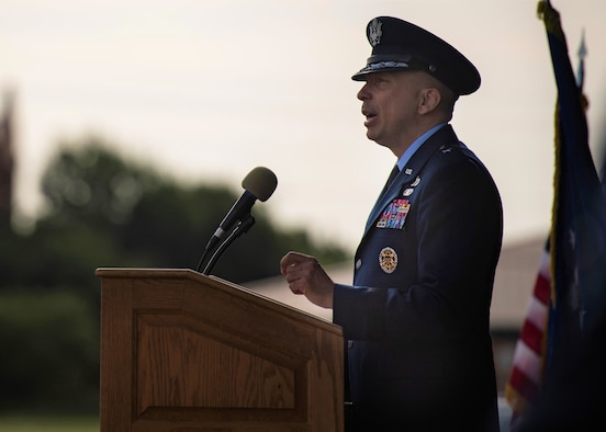 Brig. Gen. Lyle Drew, 82nd Training Wing incoming commander, gives a speech at the 82nd TRW Change of Command Ceremony at Sheppard Air Force Base, Texas, July 15, 2021. Drew's most recent accomplishments were, Maintenance Group Commander at Holloman AFB, New Mexico, 78th Air Wing Commander at Robins AFB, Georgia and Air Force Materiel Command Director of Staff at Wright-Patterson AFB, Ohio. Drew has many more accomplishments on his resume and he said that adding commander of the Air Force's largest training base is another great honor in his career. (U.S. Air Force photo by Staff Sgt. Pedro Tenorio)