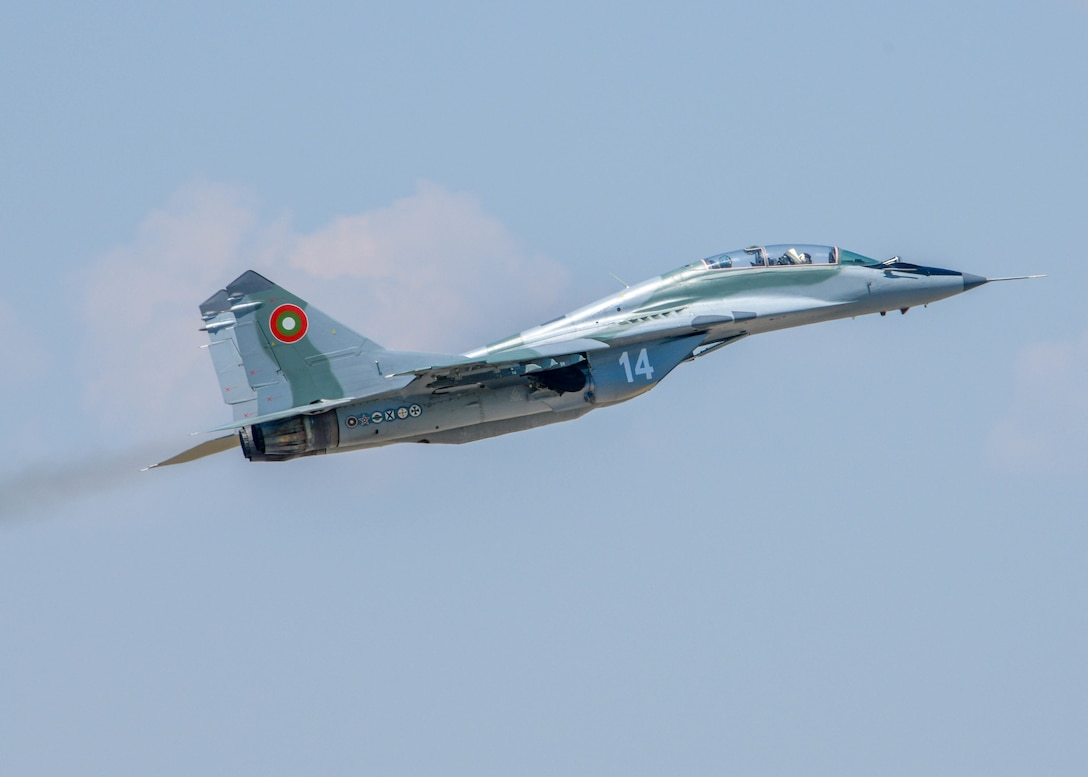 A Bulgarian air force MiG-29 prepares to taxi onto the flight line at Graf Ignatievo, Bulgaria, July 13, 2021. The Bulgarian air force has 80 aircraft and 6,500 active duty personnel. By 2027, Bulgaria seeks to have an active NATO interoperable multirole fighter squadron that participates in multinational fighter exercises. (U.S. Air Force photo by Airman 1st Class Brooke Moeder)