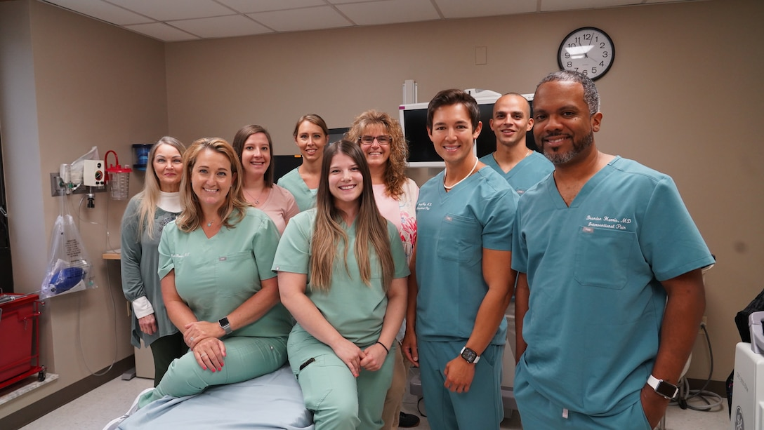 Physicians and staff from the 88th Medical Group's Pain Clinic are pictured in a procedure room July 13 at Wright-Patterson Medical Center. The small team provides more pain-management options than any other hospital in the Air Force.