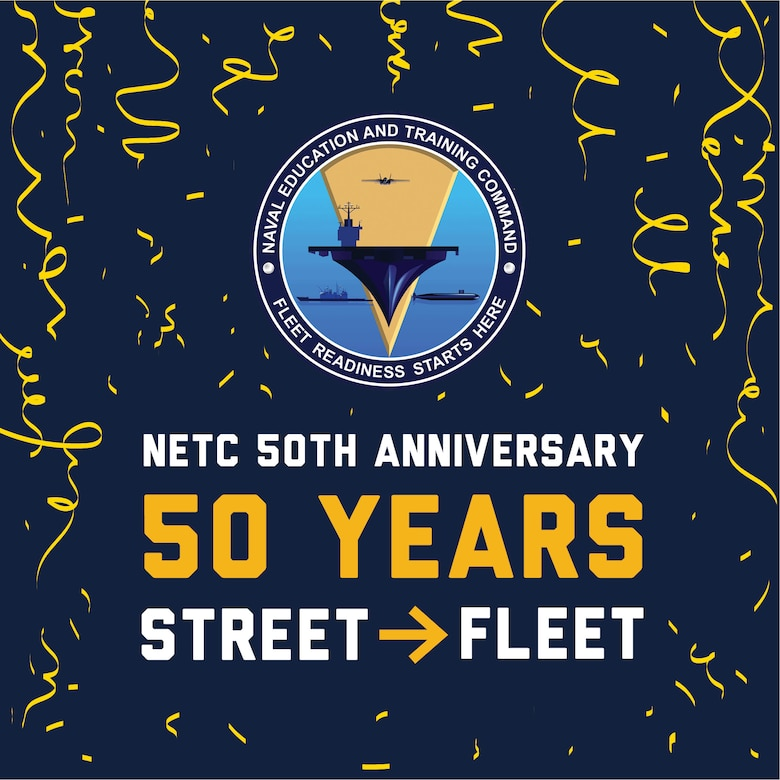 """Graphic created for Naval Education and Training Command's (NETC) 50th anniversary observance, incorporating the current NETC logo and confetti illustration. July 21, 2021, marks the 50-year anniversary for NETC. The image features the command's mantra of """"Street to Fleet.""""  NETC's mission today is to recruit, train, and deliver those who serve our nation, taking them from street to fleet by transforming civilians into highly skilled, operational, and combat ready warfighters."""