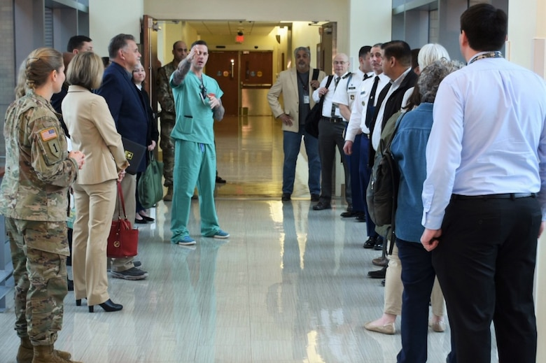 Medical school advisors toured the U.S. Army Institute of Surgical Research Burn Center in San Antonio, Texas