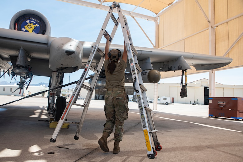 A photo of an airman carrying a ladder
