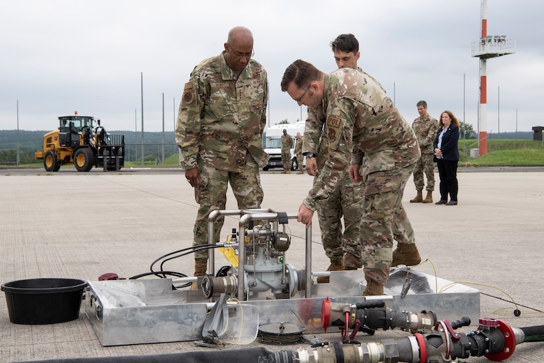 52nd Fighter Wing Airmen brief U.S. Air Force Chief of Staff Gen. CQ Brown Jr. on Viper kit capabilities July 16, 2020, on Spangdahlem Air Base, Germany.