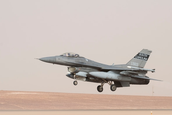 A U.S. Air Force F-16 Fighting Falcon takes off during a partner nation integration mission with the Royal Saudi Air Force at Prince Sultan Air base, June 17, 2021. U.S. Air Forces Central aircraft regularly work with coalition and partner nations to test their collective counter-UAS capabilities to ensure the security and stability of regional airspace. (U.S. Air Force photo by Staff Sgt. Caleb Pavao)