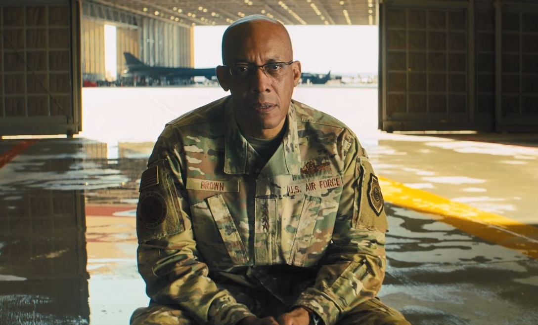 """This screen shot shows Air Force Chief of Staff Gen. CQ Brown, Jr., delivering a powerful message about air power and diversity in a new Air Force commercial titled """"Helmet."""""""