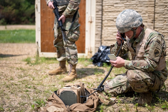 Pvt. James Pangle, a psychological operations specialist for the 16th Psychological Operations Battalion, 2nd Psychological Operations Group, U.S. Army Civil Affairs and Psychological Operations Command (Airborne), operates a next generation loudspeaker system during equipment familiarization July 16, 2021, at Fort McCoy, Wis. The NGLS is an audio system that is modular and easily moved from location to location.