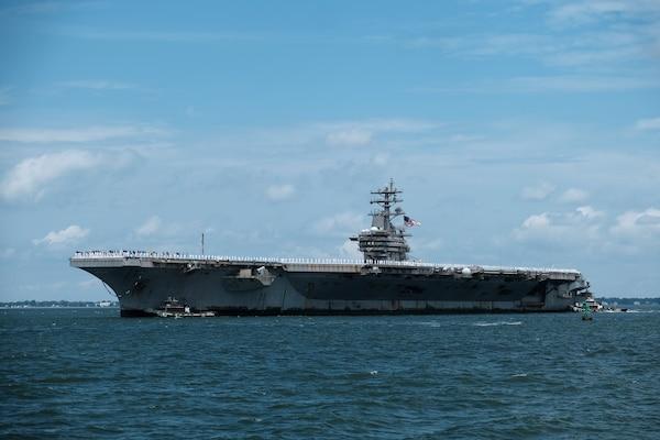 The Nimitz-class aircraft carrier USS Dwight D. Eisenhower (CVN 69) transits to Naval Station Norfolk, July 18.