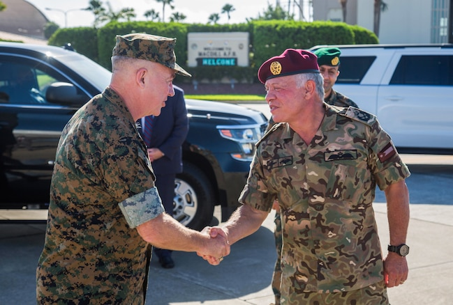 U.S. Central Command's Gen. Frank McKenzie greets His Majesty King Abdullah II of Jordan in Tampa, July 16, 2021. During the visit, the leaders discussed shared challenges originating in the Middle East – from combating extremism to improving border security – and agreed to explore creative ways to expand bilateral coordination between the two nations.