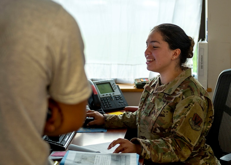 Staff Sgt. Mariana Bermudez, 4th Force Support Squadron fitness assessment cell technician, completes an Airman's physical assessment paperwork at Seymour Johnson Air Force Base, North Carolina, July 16, 2021.