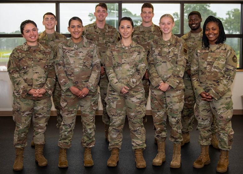 4th Force Support Squadron fitness assessment cell Airmen pose for a photograph at Seymour Johnson Air Force Base, North Carolina, July 8, 2021.