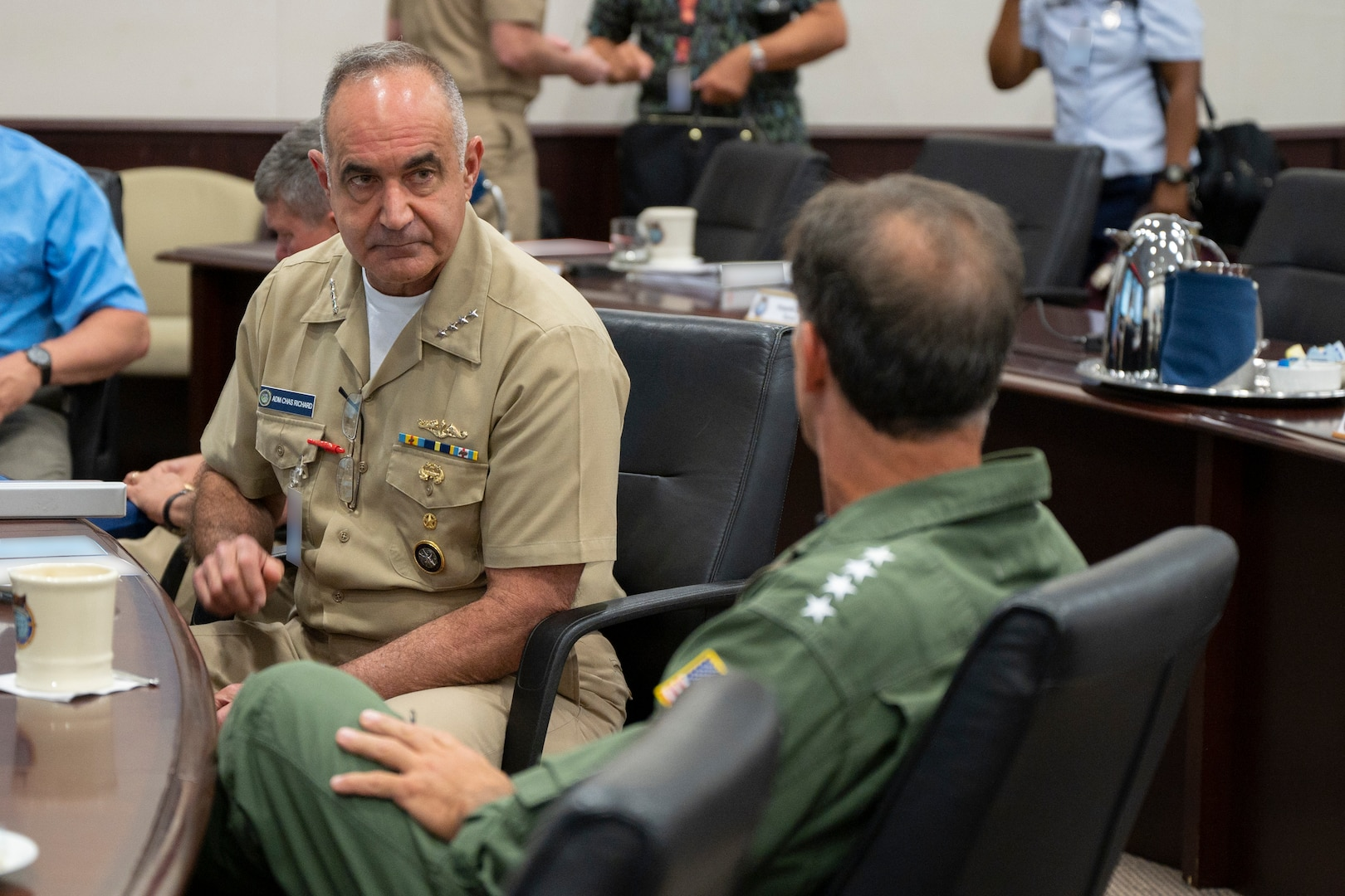 Adm. Richard visits with Adm. John Aquilino, U.S. Indo-Pacific Command commander. The leaders discussed key security issues and areas of integration required to address cross-domain regional challenges and global threats.