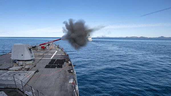 USS Rafael Peralta (DDG 115) fires the 5-inch gun for Naval Surface Fire Support during Exercise Talisman Sabre 21