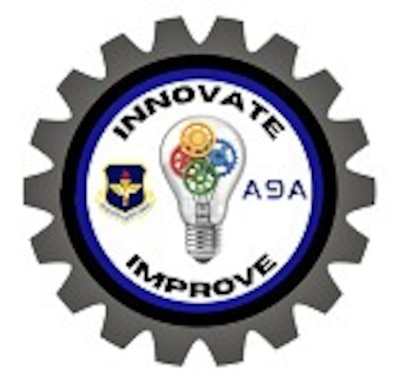 AETC A9 graphic of a cog with a black and blue circle with text and a lightbulb