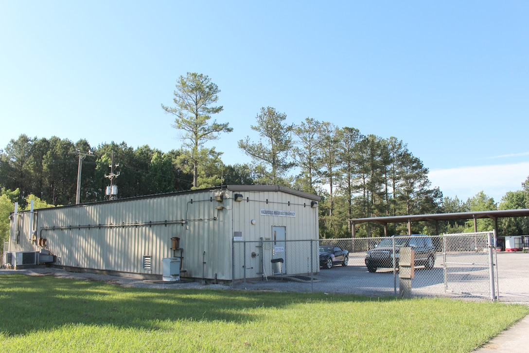Arnold Air Force Base receives hazardous materials through its HAZMART Pharmacy, pictured here June 15, 2021, at Arnold AFB, Tenn. The HAZMART Pharmacy then distributes these materials and products to the shops on base requesting them. The facility is used by the Hazardous Waste and Hazardous Materials Program at Arnold to provide cradle-to-grave management of hazardous waste. (U.S. Air Force photo by Deidre Moon) (The building number was blurred in this photo for security purposes.)