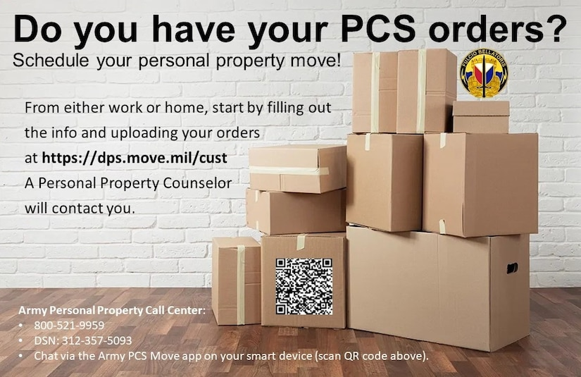 Steps to take:  • Visit the installation transportation office as soon as orders are received. Don't wait. • Whether this is a first move or 15th, take advantage of counseling. The local transportation office is the best resource of information specific to that location. • If movers cannot be arranged to support the PCS, talk with Soldier's chain of command immediately to explore options – which may include changes to reporting timelines. • Be patient with the transportation office personnel. They want to solve problems for you. • Contact the local transportation office if moving plans change or when questions or concerns arise during the PCS process.