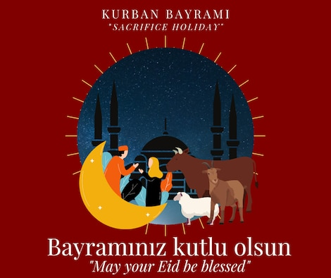Graphic with a man, woman, cow, sheep, and goat with a mosque in the background.