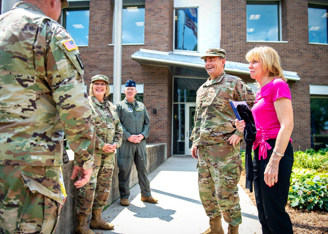 U.S. Air Force Lt. Gen. Michael A. Loh, Director of the Air National Guard, is greeted by senior leaders from the 133rd Airlift Wing and the Minnesota National Guard in St. Paul, Minn., July 16, 2021.