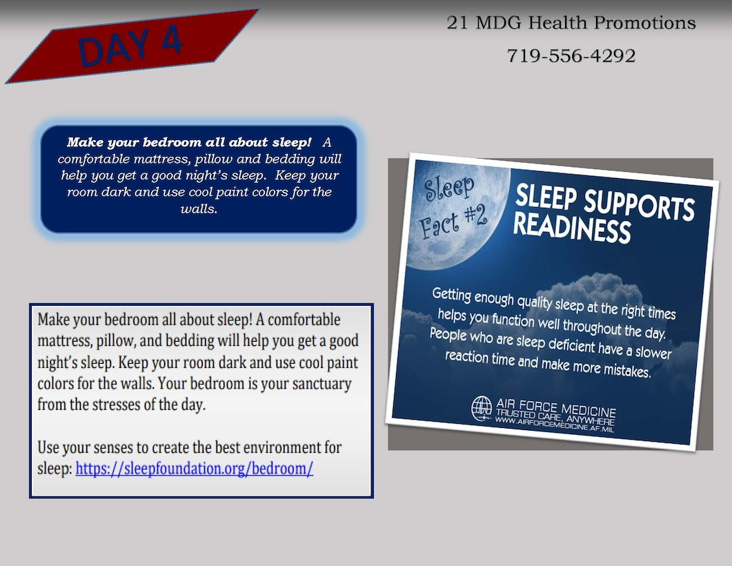 The Sleep Awareness Campaign graphic: Day 4
