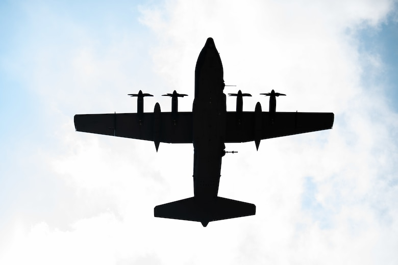 A U.S. Air Force AC-130J Ghostrider gunship, assigned to the 27th Special Operations Group Detachment 2, conducts a flyover July 19, 2021, at Cannon Air Force Base, N.M. The arrival of Cannon's first AC-130J Ghostrider represents a significant expansion of force generation capacity as AFSOC structures for the reemergence of great power competition, tightening fiscal constraints, and the accelerating rate of technological change, demanding significant transformation to ensure Air Commandos are ready to successfully operate in this new environment. (U.S. Air Force photo by Senior Airman Marcel Williams)