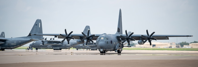 A U.S. Air Force AC-130J Ghostrider gunship, assigned to the 27th Special Operations Group Detachment 2, taxis on the flightline July 19, 2021, at Cannon Air Force Base, N.M. The arrival of Cannon's first AC-130J Ghostrider represents a significant expansion of force generation capacity as AFSOC structures for the reemergence of great power competition, tightening fiscal constraints, and the accelerating rate of technological change, demanding significant transformation to ensure Air Commandos are ready to successfully operate in this new environment. (U.S. Air Force photo by Senior Airman Marcel Williams) (This photo has been altered for security purposes by blurring out aircraft and squadron identifiers.)