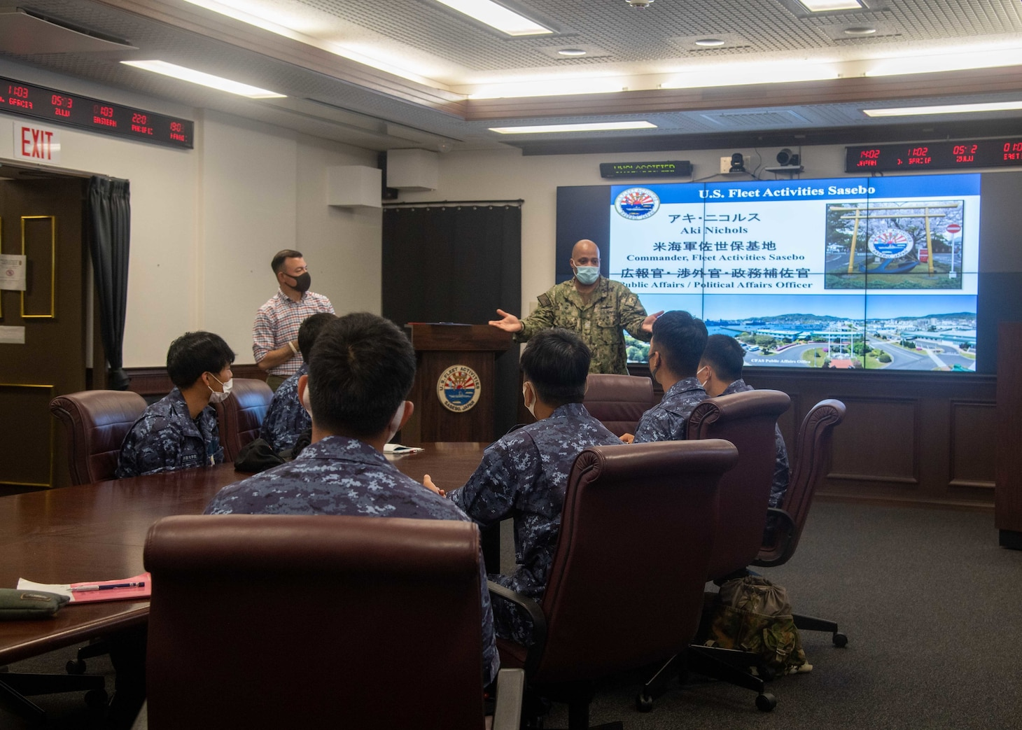 Capt. David Adams, Commander, Fleet Activities Sasebo (CFAS), speaks to National Defense Academy of Japan cadets at CFAS July 14, 2021. The cadets toured CFAS facilities and visited the amphibious transport dock ship USS Green Bay (LPD 20) which was the first ship tour at CFAS since the beginning of the COVID-19 pandemic.