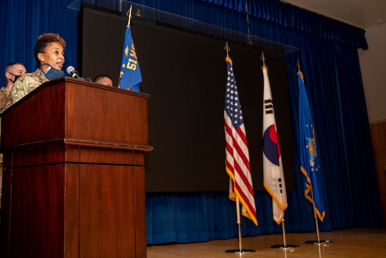 The 51st Force Support Squadron held a change of command ceremony at Osan Air Base, Republic of Korea, July 21, 2021. Lt. Col. Sheri Kraus transferred command of the 51st FSS to Lt. Col. Tamekia Payne